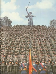 Soviet Army in front of The Motherland Calls, Stanlingrad (now Volgograd).