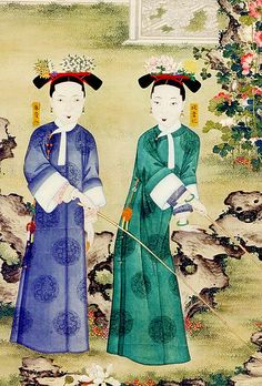 Portrait of two imperial consorts within the harem of Emperor Xianfeng. Cixi entered Xianfeng's harem as a lowly concubine, but gave birth to his only male heir.