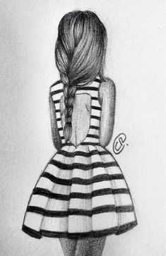 Girl back pencil sketch