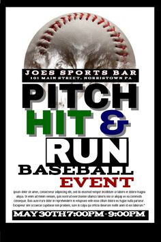 baseball event poster template click to customize