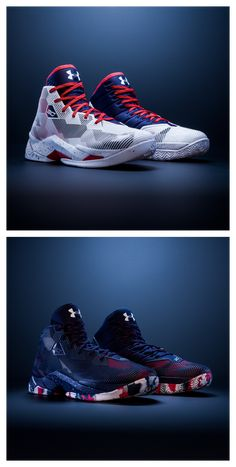 Rep the red, white, and blue this summer. Two new Under Armour Curry colorways just dropped. Curry Basketball Shoes, Jordan Basketball Shoes, Basketball Camps, Basketball Sneakers, Zapatillas Nike Basketball, Sneakers Fashion, Shoes Sneakers, Stephen Curry Shoes, Baskets