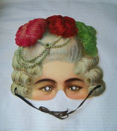 Marie Antoinette - Reproduction of vintage c1900 paper mask based on the original in the Leksaksmuseum in Stockhom collection. 10.00, via Etsy.