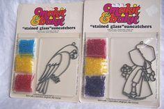 2 Vintage Makit & Bakit Stained Glass Suncatcher Craft by EndlessC