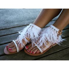 RiRiPoM, Feather Sandals, Greek, Luxurious Sandals, Bridal Sandals,... (£165) ❤ liked on Polyvore featuring shoes, sandals, embellished sandals, beaded gladiator sandals, white beaded sandals, bridal shoes and gladiator shoes