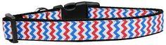 Patriotic Chevrons Nylon Dog Collar Large