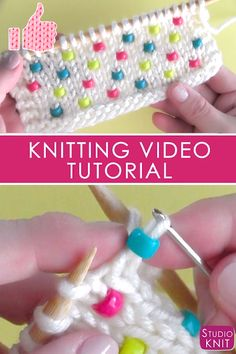 Learn how to Knit Beads into any project! This knitting technique works great for pretty much any knit stitch pattern. Simply using a crochet hook, this is a really easy way to quickly add beads to your work. # How to Knit Beads Into Any Project Knitting Videos, Knitting For Beginners, Knitting Stitches, Free Knitting, Baby Knitting, Knitting Tutorials, Quick Knitting Projects, Knitting Yarn, Stitch Patterns