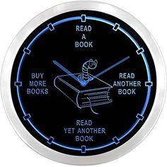 nc0912+Avid+Reader++Book+Worm+Novels+Neon+Sign+LED+Wall+Clock +–+USD+$+39.99