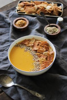Classic Egyptian Lentil soup served with violently crunchy pita croutons and dukkah.