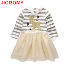 2017 Brand Girls Dress New Spring Deer Star Striped Long-sleeved Sequin Dress Children's Clothing Fashion Kids Apparel JIOROMY #Affiliate