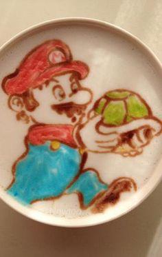 Mario Bros Latte Art