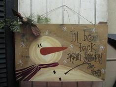 Frosty Snowman Board by GainersCreekCrafts on Etsy,