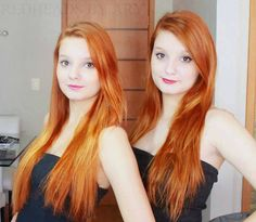Naked redhead twins