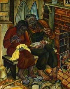 "John Biggers, Old Couple (aka ""Home Sweet Home"") (1946);  In 1941, John Biggers entered the Hampton Institute, where he studied art under the guidance of Viktor Lowenfeld.Known for his narrative murals and outstanding draftsmanship, Biggers dedicated his work to the depiction of the human condition."
