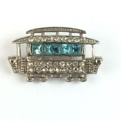 Vintage Rhinestone Cable Car Brooch Turquoise & Clear Paste