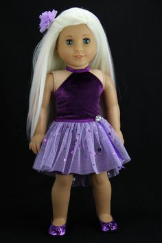 Handmade 18 inch doll clothes - Purple halter dress with high low tutu skirt (409purple) by DolliciousClothes on Etsy