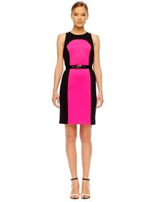 Michael Kors  Contrast-Panel Ponte Dress.