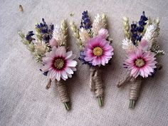 Summer dried pastel boutonnieres set 6  by FlowerDecoupage on Etsy