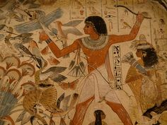"""Nebamun hunting in the marshes  This is a scene from the tomb-chapel of Nebamun, an Egyptian """"scribe and counter of grain"""" during the New Kingdom. Nebamun's name is translated as """"My Lord is Amun"""" and he is thought to have lived c. 1500 BC."""