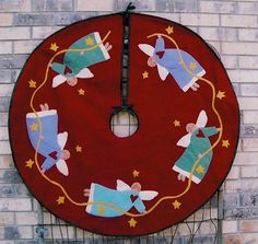 """Angels Rejoice! 48"""" Tree Skirt or Table Topper. Easy to applique with large pattern pieces and wool felt."""