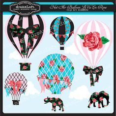 Hot Air Balloons La Vie En Rose Clip Art Digital Collage Sheet Clipart for parties, stationary, invitations, scrapbooking