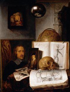 Simon LUTTICHUYS (1610-1661)  Vanité avec crâne (n°1), 1645 Huile sur bois.