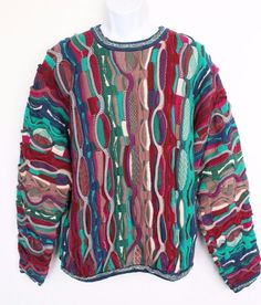 7300fcdaacf5c7 Vintage 90s Men s COOGI Knit Sweater XL Australia BRIGHT COLORS Cosby  Biggie Hip
