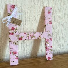 Pink Vintage Floral  Decorative Letters - Fabric Wrapped Wooden Letters.
