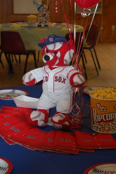 Boston Red Sox Table Close Up - Sports Theme Party
