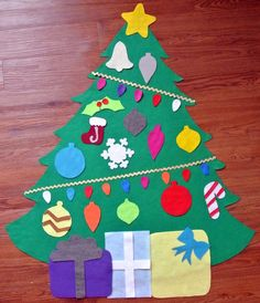 "Felt Christmas Tree, with felt ""lights"" for your child to decorate."