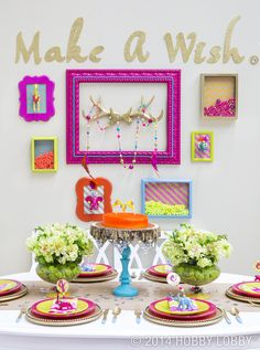 This preppy-meets-eclectic spread turns a low-key gathering into an all-glam affair. The key? A hodgepodge of home décor items, kept in sync with a few fashion-forward guidelines. For color, go bright and bold. For sparkle, add jewelry components and glitter accents. For the wild side in all of us, display mini circus animals as décor!