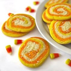 Candy Corn Sugar Cookies (treats For Co-irkers) With Butter, Powdered Sugar, Large Eggs, Zest, All-purpose Flour, Baking Soda, Cream Of Tartar, Food Gel, Food Gel, Coarse Sugar