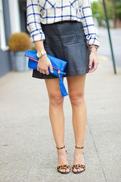 fall fashion, J. Crew Plaid Flannel, Leather Skirt, Leopard Joie Heels
