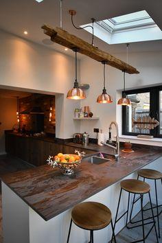 New Year, New Interiors Open Plan Kitchen Living Room, Barn Kitchen, Kitchen Dining Living, Farmhouse Style Kitchen, Home Decor Kitchen, New Kitchen, Home Kitchens, Industrial Farmhouse Kitchen, Unfitted Kitchen