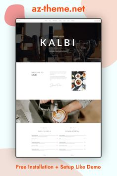 KALBI is a clean & elegant WordPress theme for cafes, bars, bistros, bakery, pubs, cafeteria, coffee shop pizzerias or other restaurant related businesses, this is the theme for you. Seting up and working with KALBI is over easy with 100% Page Builder & Theme Options. 100% Responsive, looks great on all devices. Touch & Swipe Friendly for mobile devices. Elegant & Clean Design. Clean Code & child theme included...