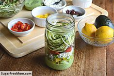 Add the ingredients to this Zucchini Pasta Salad to a mason jar and shake well before serving. The Avocado Spinach dressing goes on the bottom. You'll be hooked on mason jar salads! Via Sugar Free Mom