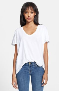 Free shipping and returns on Current/Elliott 'The V-Neck' Tee at Nordstrom.com. Distressed edges further the lived-in look of a slightly faded cotton tee with a deep V-neck and slouchy fit.