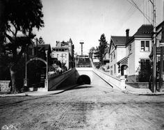 1901 view of Angels Flight and the Third Street Tunnel at the base of Bunker Hill. Courtesy of the Security Pacific National Bank Collection, Los Angeles Public Library.