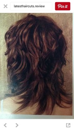 Long Curly Layered Haircuts Back View Wavy Shag Haircut Back View Curly Hair Pin. Long Layered Curly Haircuts, Medium Shag Hairstyles, Shaggy Haircuts, Haircuts For Fine Hair, Long Shag Haircut, Long Curly, Nice Hairstyles, Medium Hair Cuts, Long Hair Cuts