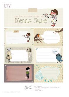 FREE printable whimsical back to school tags: Hello June: DIY : les étiquettes de la rentrée