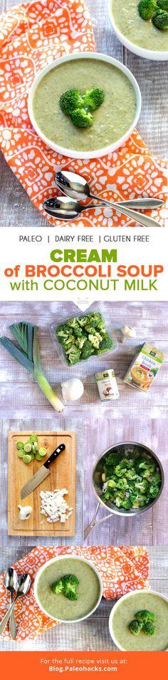 Cream of Broccoli Soup with Coconut Milk - detox soup - Brokkoli Rezepte Paleo Menu, Paleo Soup, Paleo Dairy, Paleo Dinner, Paleo Recipes, Soup Recipes, Dairy Free, Cooking Recipes, Gluten Free