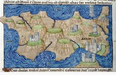 Detail of a miniature of a map of the island of Andros. Netherlands, S. (Ghent). British Library.