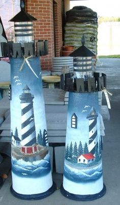 Part of hand painted lighthouse display at L.H. Webb