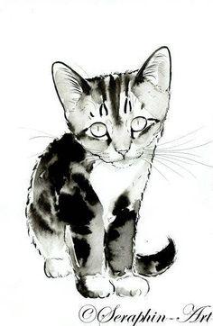 Kleine Kitten originele aquarel schilderij
