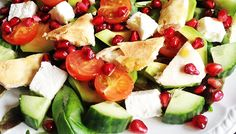 """Greek """"Feta"""" salad with toasted pitta wedges Weight Loss Eating Plan, Easy Weight Loss, Greek Feta Salad, Free Meal Plans, Lunch Menu, Pitta, Mediterranean Style, Everyday Food, Eating Plans"""
