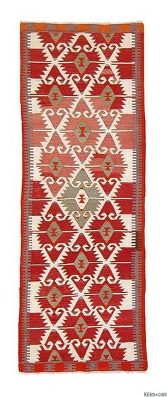 MUT (Taurus Mountains) tribal kilim runner, ca. 1970s.  Woven by Yörüks.