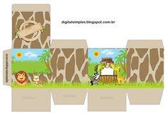 Kit Digital de Aniversário Tema Safári Menino para Imprimir - Convites Digitais Simples