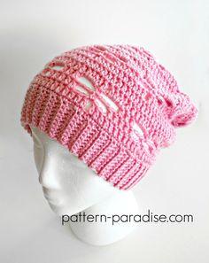 Free Crochet Pattern: Dragonfly Slouchy Hat | Pattern Paradise