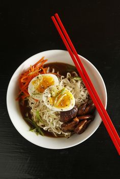 The Chubby Vegetarian: Vegetarian Shiitake Ramen.ignoring the fact that this person stole the name of my future autobiography. Veggie Recipes, Asian Recipes, Soup Recipes, Vegetarian Recipes, Healthy Recipes, Veggie Meals, Japanese Recipes, Vegetarian Cooking, Japanese Food