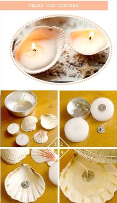 And Beautiful Shell Craft Ideas I have done this with my little girl. She love her shell candles.And it's really easy. :)I have done this with my little girl. She love her shell candles.And it's really easy. Seashell Crafts, Beach Crafts, Beach Themed Crafts, Velas Diy, Deco Nature, Fun Diy Crafts, Diy Candles, Seashell Candles, Seashells