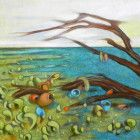 Landscape surreal painting. Oil on wood panel. Contemporary artwork